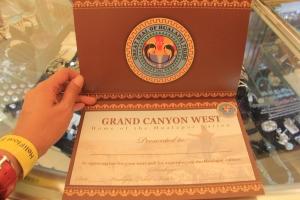 Receiving certificate at the souvenir center