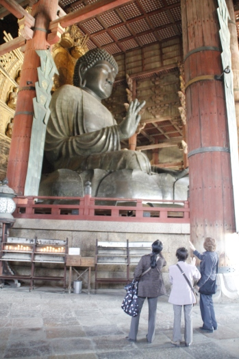 Big Buddha (Daibutsu) - his open hand alone is as tall as a human being