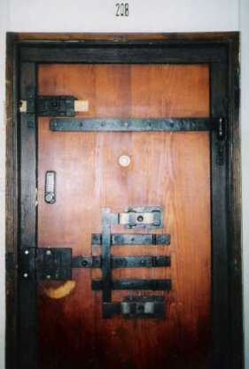 The former prison doors are still used as the room doors