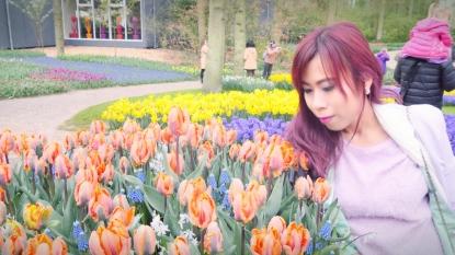 Me with orange tulips
