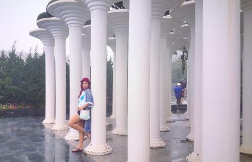 White columns in the garden