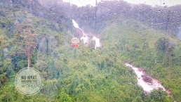Cable Car and a Waterfall
