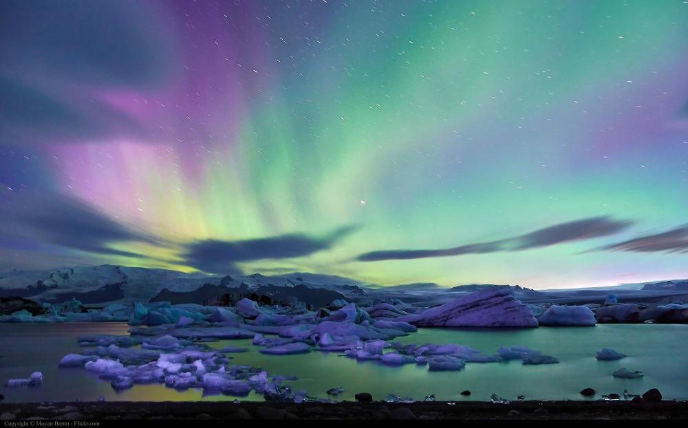 Colorful Aurora over Jokulsarlon